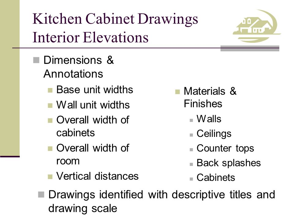 Kitchen Cabinet Drawings Interior Elevations Dimensions & Annotations Base unit widths Wall unit widths Overall width of cabinets Overall width of roo