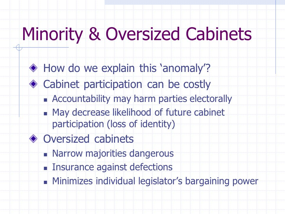 Minority & Oversized Cabinets How do we explain this anomaly? Cabinet participation can be costly Accountability may harm parties electorally May decr