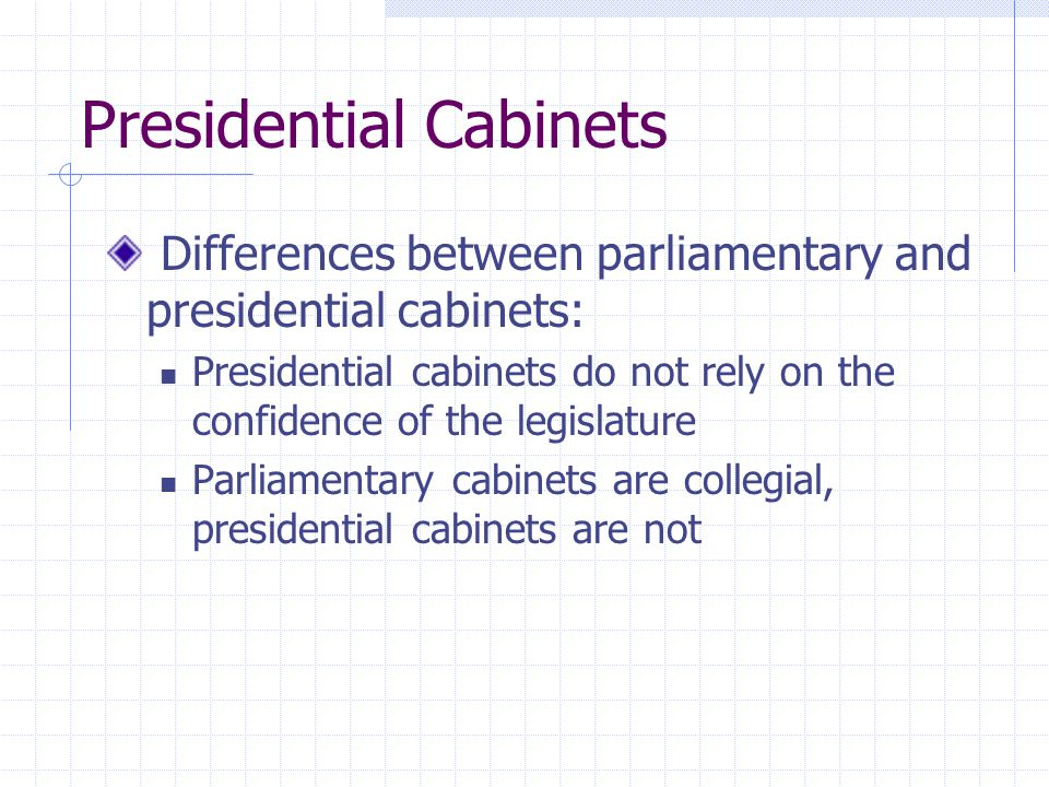 Presidential Cabinets Differences between parliamentary and presidential cabinets: Presidential cabinets do not rely on the confidence of the legislat