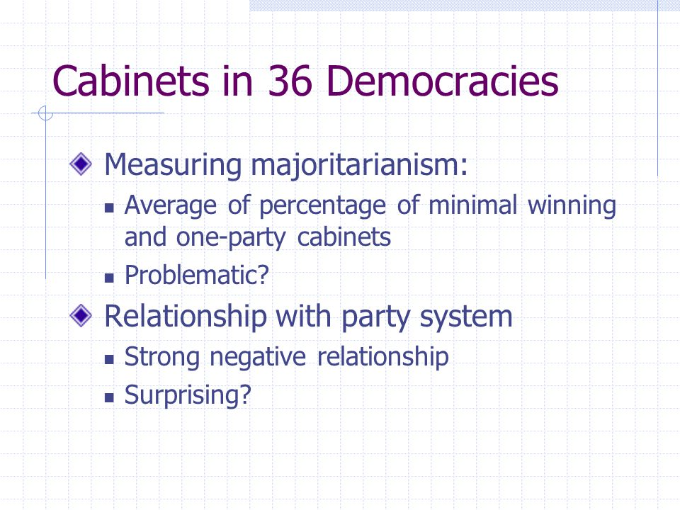 Cabinets in 36 Democracies Measuring majoritarianism: Average of percentage of minimal winning and one-party cabinets Problematic? Relationship with p