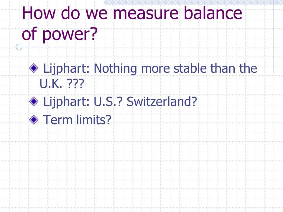 How do we measure balance of power? Lijphart: Nothing more stable than the U.K. ??? Lijphart: U.S.? Switzerland? Term limits?