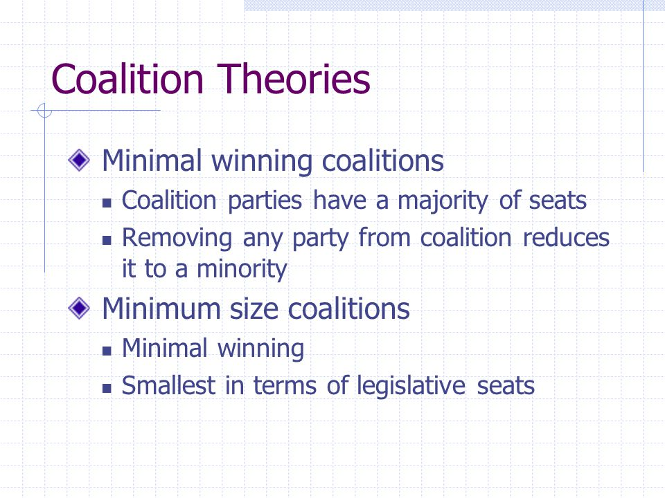 Coalition Theories Minimal winning coalitions Coalition parties have a majority of seats Removing any party from coalition reduces it to a minority Mi
