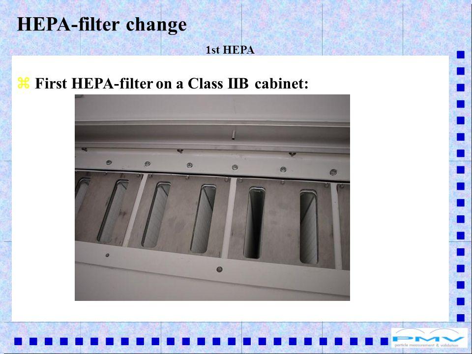 z First HEPA-filter on a Class IIB cabinet: HEPA-filter change 1st HEPA