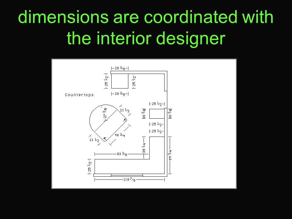 dimensions are coordinated with the interior designer