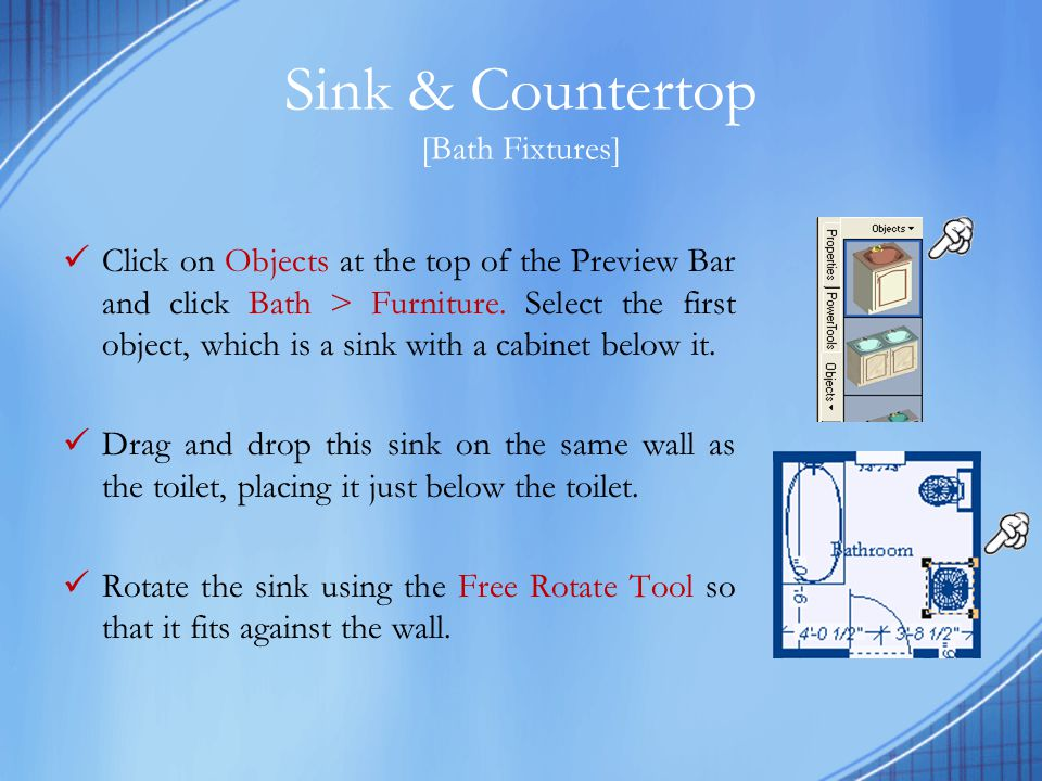 Kitchen Fixtures & Appliances Click on Objects at the top of the Preview Bar and click on Kitchen > Appliances.