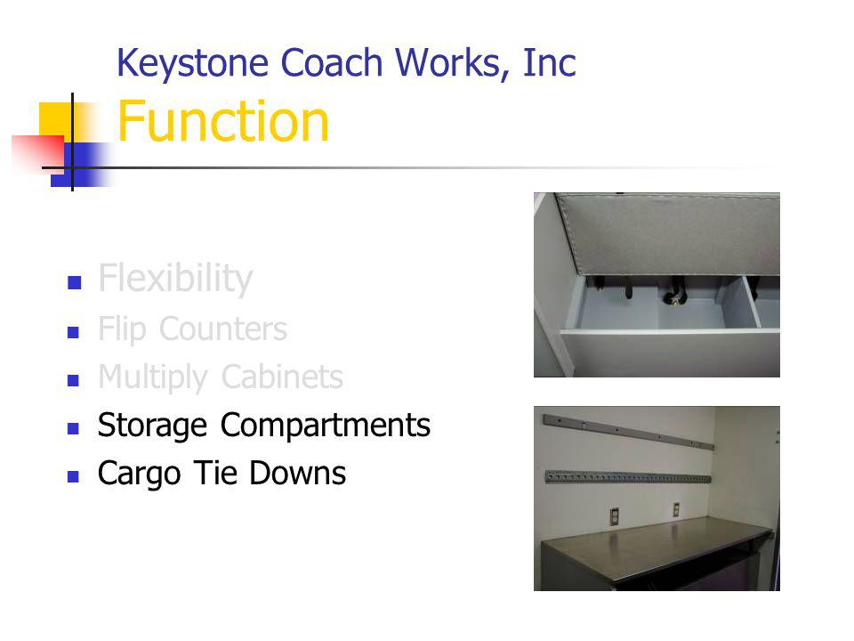 Keystone Coach Works, Inc Function Flexibility Flip Counters Multiply Cabinets Storage Compartments Cargo Tie Downs