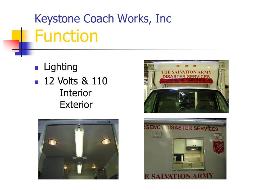 Keystone Coach Works, Inc Function Lighting 12 Volts & 110 Interior Exterior