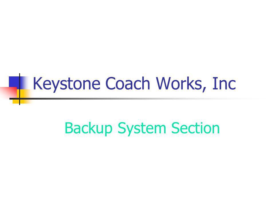 Keystone Coach Works, Inc Backup System Section