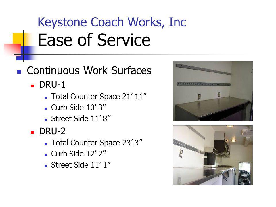 Keystone Coach Works, Inc Ease of Service Continuous Work Surfaces DRU-1 Total Counter Space 21 11 Curb Side 10 3 Street Side 11 8 DRU-2 Total Counter