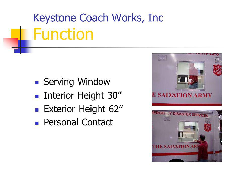 Keystone Coach Works, Inc Function Serving Window Interior Height 30 Exterior Height 62 Personal Contact