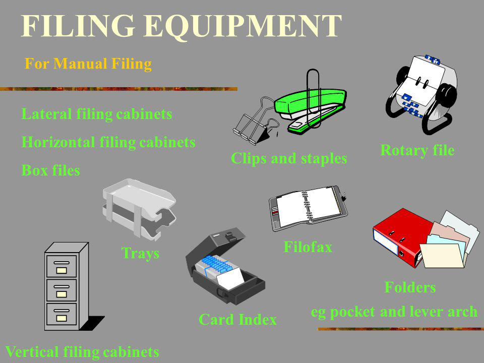FILING EQUIPMENT For Manual Filing Folders eg pocket and lever arch Vertical filing cabinets Lateral filing cabinets Horizontal filing cabinets Rotary
