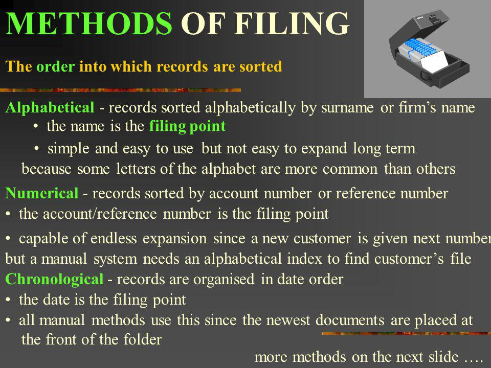 METHODS OF FILING The order into which records are sorted Alphabetical simple and easy to usebut not easy to expand long term Numerical - records sort