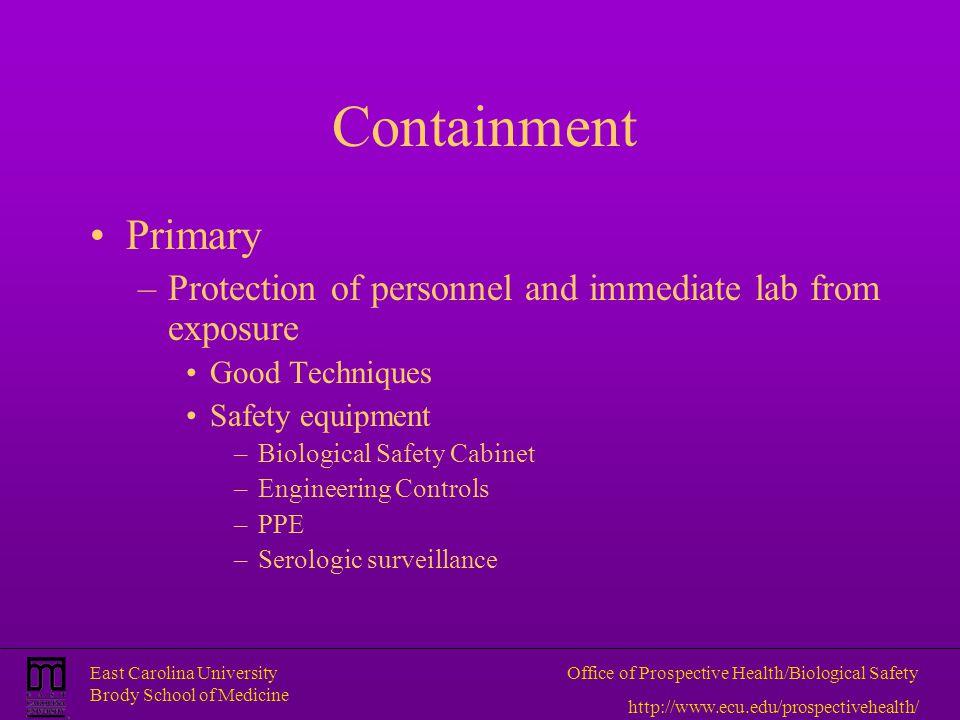 East Carolina University Brody School of Medicine Office of Prospective Health/Biological Safety http://www.ecu.edu/prospectivehealth/ Containment Pri