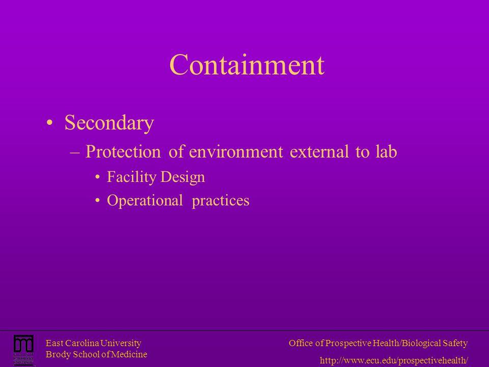 East Carolina University Brody School of Medicine Office of Prospective Health/Biological Safety http://www.ecu.edu/prospectivehealth/ Containment Sec