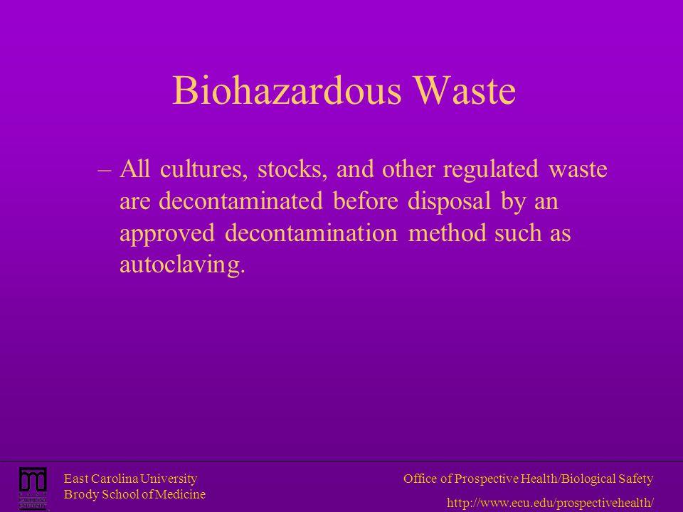 East Carolina University Brody School of Medicine Office of Prospective Health/Biological Safety http://www.ecu.edu/prospectivehealth/ Biohazardous Wa