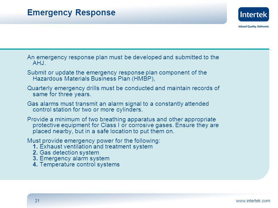 www.intertek.com21 Emergency Response An emergency response plan must be developed and submitted to the AHJ.
