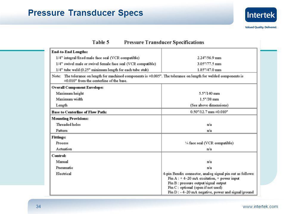 www.intertek.com34 Pressure Transducer Specs