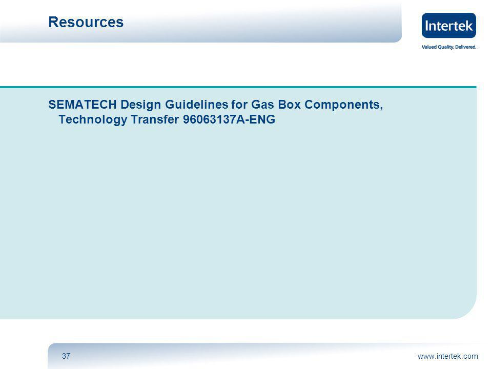 www.intertek.com37 Resources SEMATECH Design Guidelines for Gas Box Components, Technology Transfer 96063137A-ENG