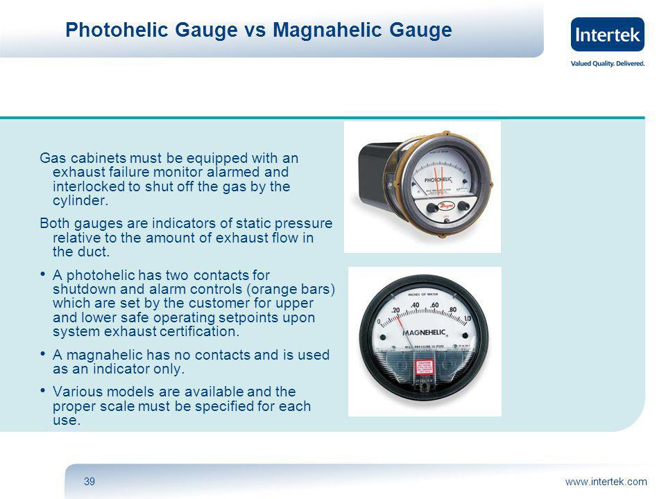 www.intertek.com39 Photohelic Gauge vs Magnahelic Gauge Gas cabinets must be equipped with an exhaust failure monitor alarmed and interlocked to shut off the gas by the cylinder.