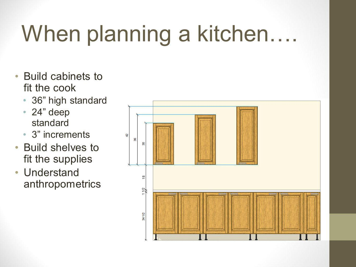 When planning a kitchen…. Build cabinets to fit the cook 36 high standard 24 deep standard 3 increments Build shelves to fit the supplies Understand a