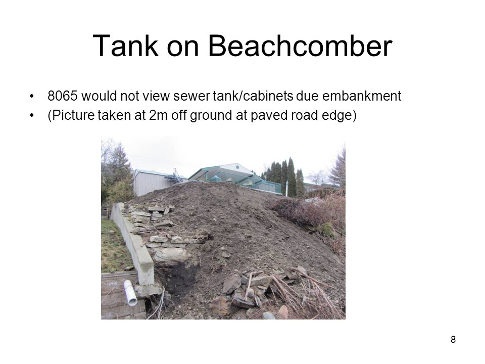 8 Tank on Beachcomber 8065 would not view sewer tank/cabinets due embankment (Picture taken at 2m off ground at paved road edge)