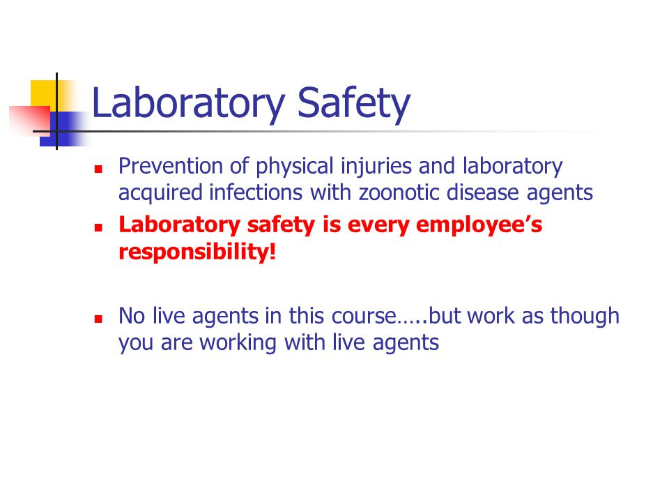 Prevention of physical injuries and laboratory acquired infections with zoonotic disease agents Laboratory safety is every employees responsibility.