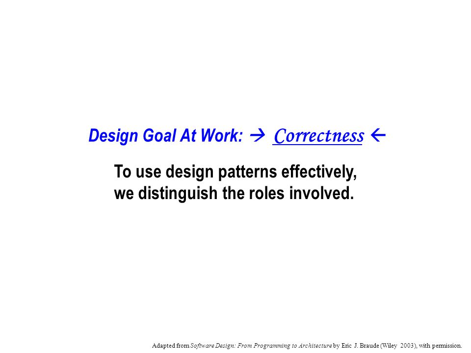 Design Goal At Work: Correctness To use design patterns effectively, we distinguish the roles involved.