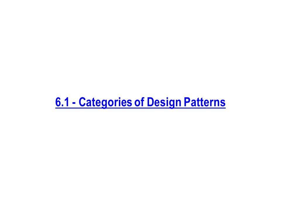 6.1 - Categories of Design Patterns