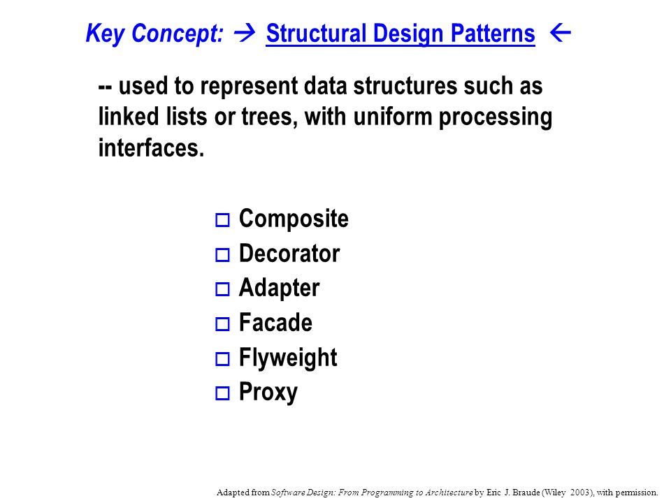 Abstract Factory Design Pattern Style getComponentA() getComponentB() Client doOperation( Style myStyle ) Style1 getComponentA() getComponentB() Style2 getComponentA() getComponentB() ComponentAComponentB Style1ComponentA Style1ComponentB Style2ComponentA Style2ComponentB Collection Adapted from Software Design: From Programming to Architecture by Eric J.