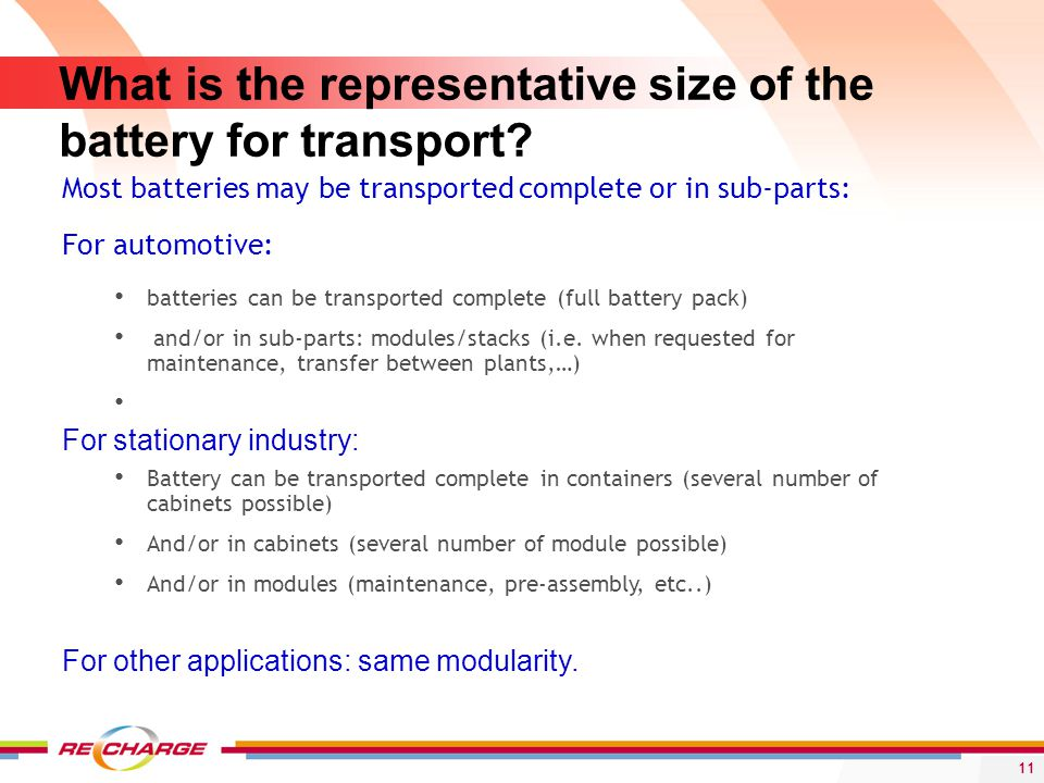 What is the representative size of the battery for transport.