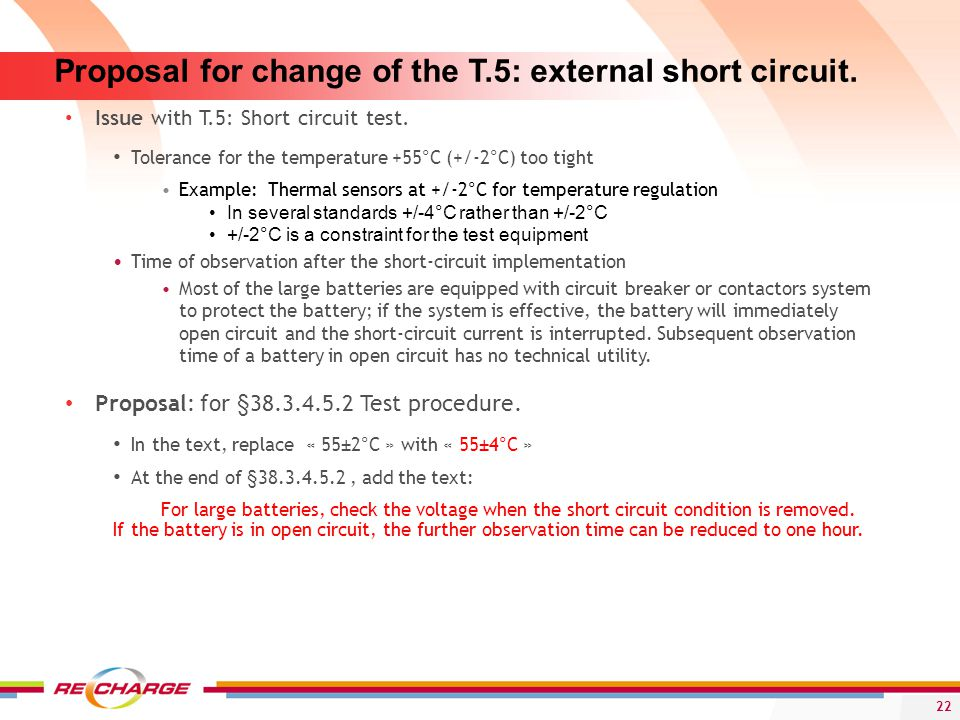 Proposal for change of the T.5: external short circuit.
