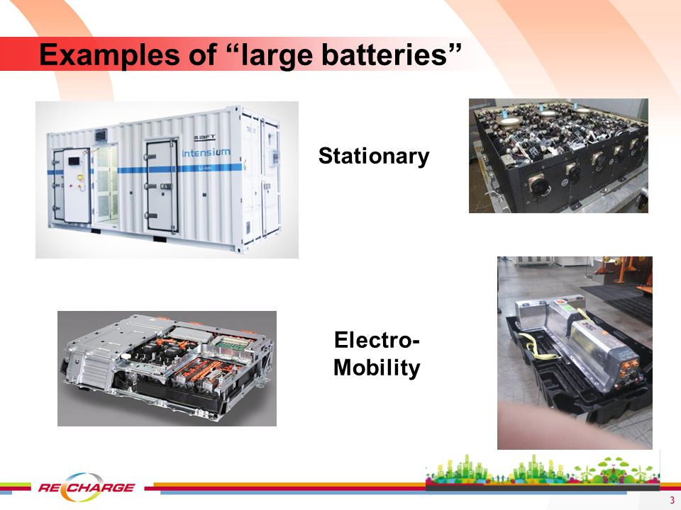 Examples of large batteries Stationary Electro- Mobility 3