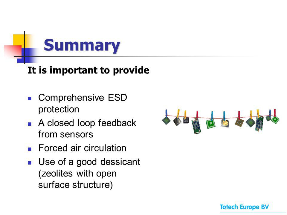 It is important to provide Comprehensive ESD protection A closed loop feedback from sensors Forced air circulation Use of a good dessicant (zeolites w