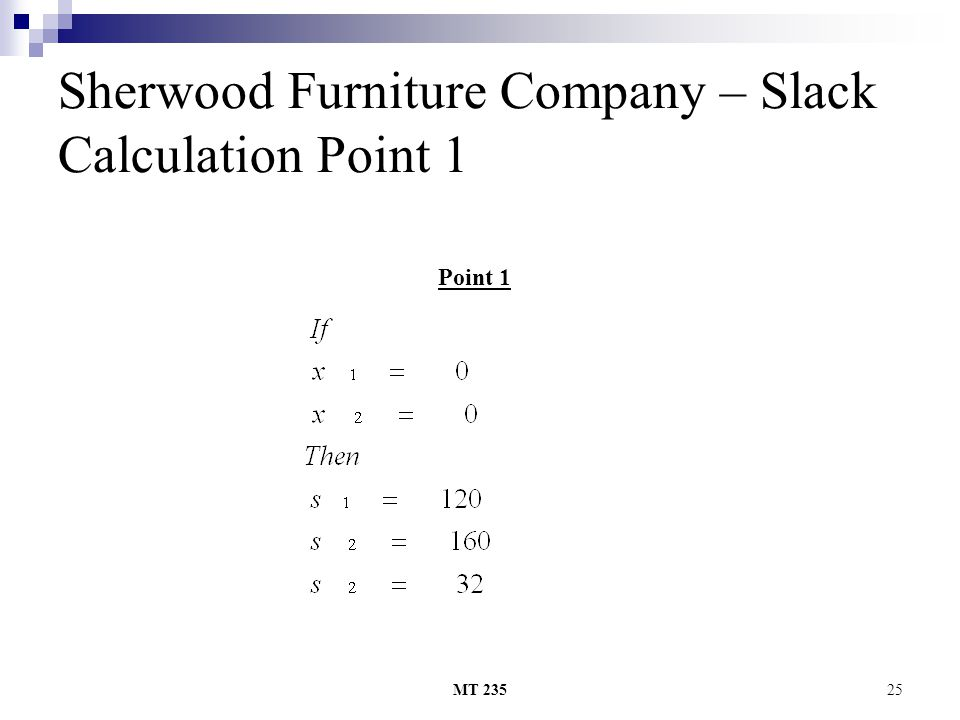 MT 23525 Sherwood Furniture Company – Slack Calculation Point 1 Point 1