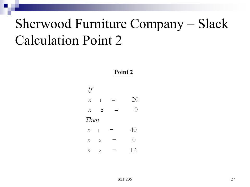 MT 23527 Sherwood Furniture Company – Slack Calculation Point 2 Point 2
