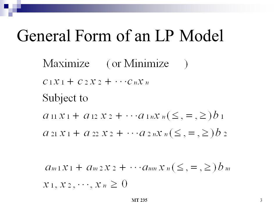 MT 2353 General Form of an LP Model