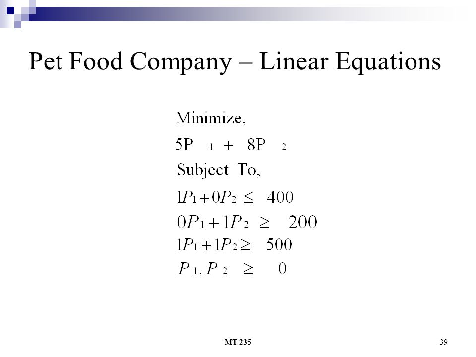 MT 23539 Pet Food Company – Linear Equations