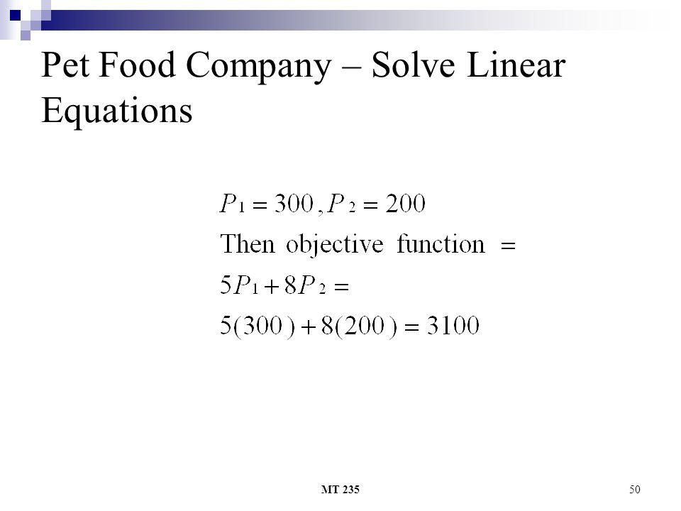 MT 23550 Pet Food Company – Solve Linear Equations