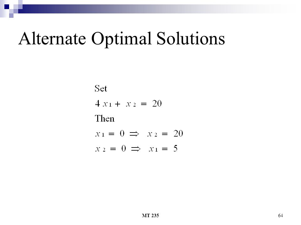 MT 23564 Alternate Optimal Solutions