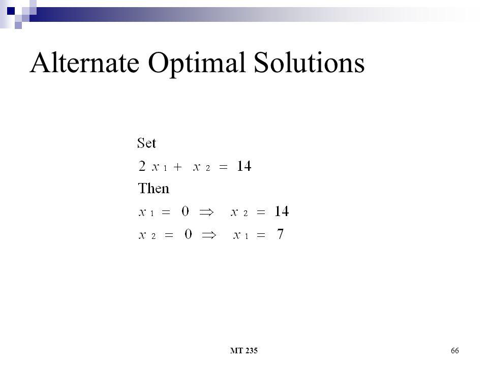 MT 23566 Alternate Optimal Solutions