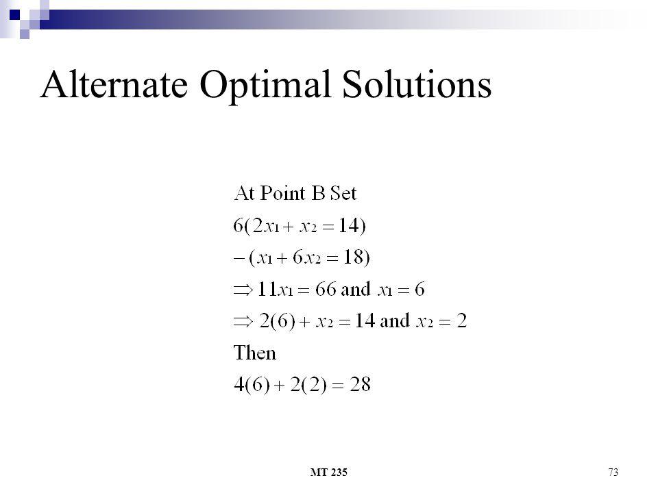 MT 23573 Alternate Optimal Solutions