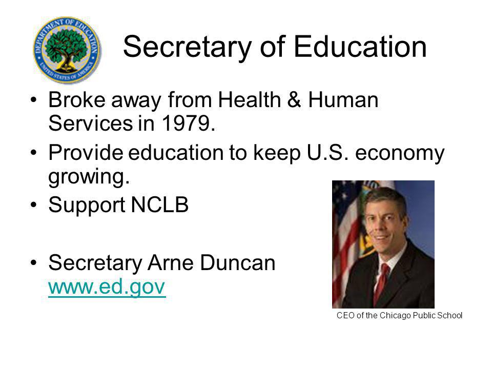 Secretary of Education Broke away from Health & Human Services in 1979.