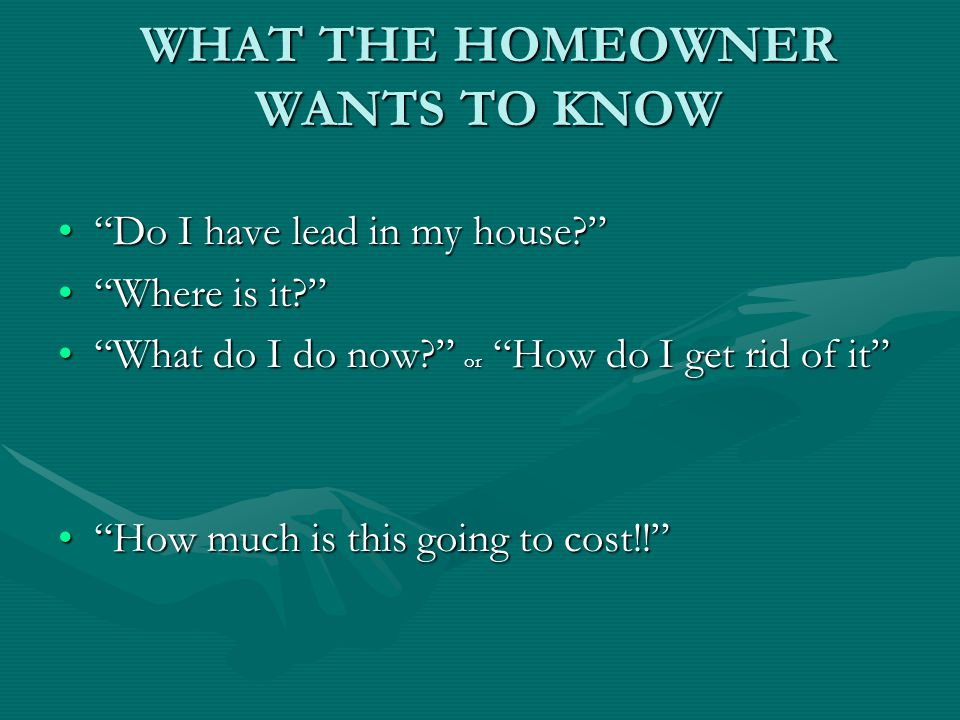 WHAT THE HOMEOWNER WANTS TO KNOW Do I have lead in my house Do I have lead in my house.