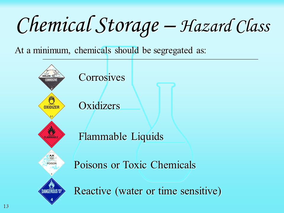 12 Avoid storing liquid chemicals above eye level. Avoid storing chemicals in aisle ways. Avoid over stocking shelves. Avoid storing heavy containers