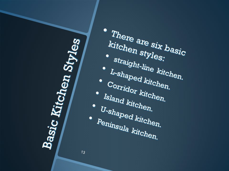 Basic Kitchen Styles There are six basic kitchen styles: There are six basic kitchen styles: straight-line kitchen.