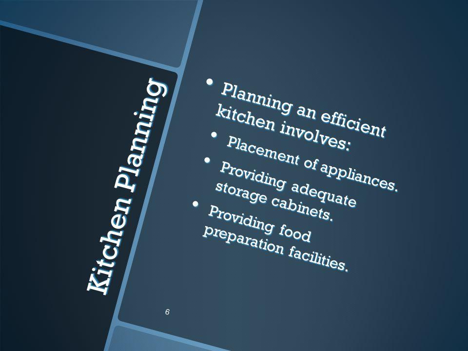 Kitchen Planning Planning an efficient kitchen involves: Planning an efficient kitchen involves: Placement of appliances. Placement of appliances. Pro