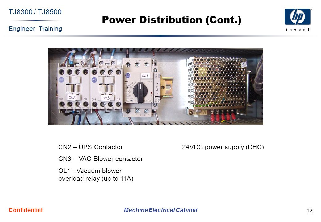 Engineer Training Machine Electrical Cabinet TJ8300 / TJ8500 Confidential 12 Power Distribution (Cont.) CN2 – UPS Contactor CN3 – VAC Blower contactor