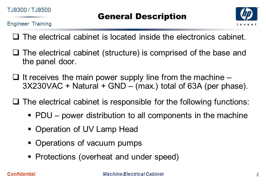Engineer Training Machine Electrical Cabinet TJ8300 / TJ8500 Confidential 2 General Description The electrical cabinet is located inside the electroni