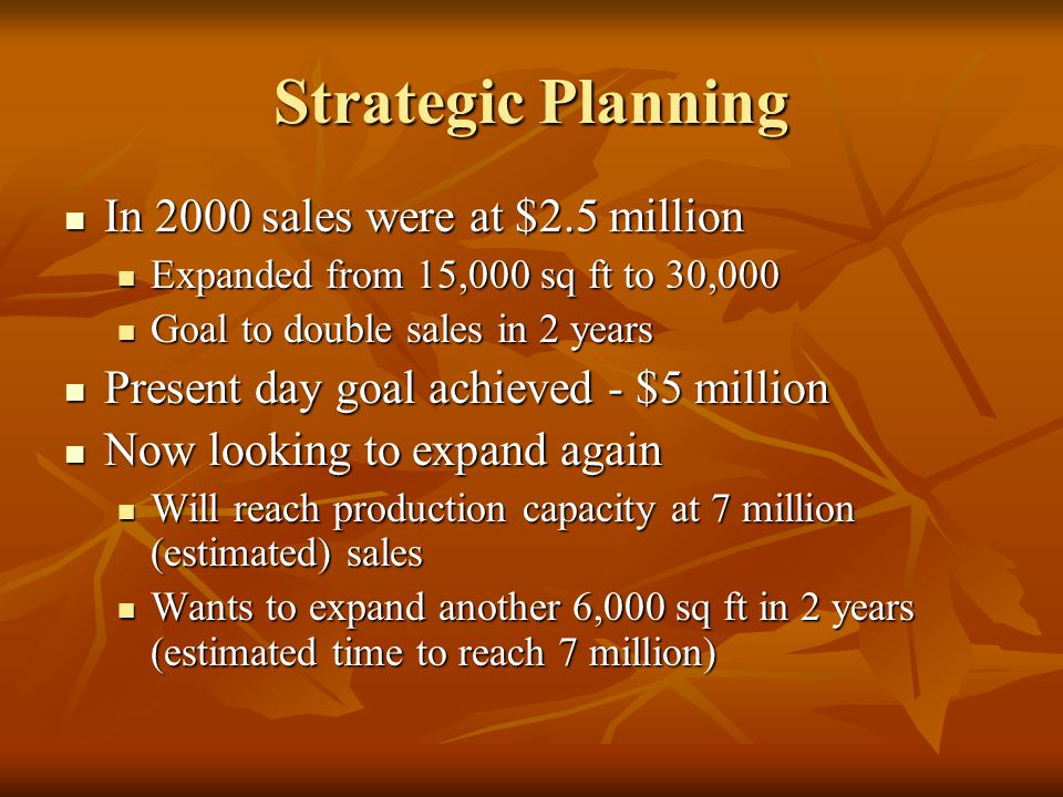Strategic Planning In 2000 sales were at $2.5 million In 2000 sales were at $2.5 million Expanded from 15,000 sq ft to 30,000 Expanded from 15,000 sq ft to 30,000 Goal to double sales in 2 years Goal to double sales in 2 years Present day goal achieved - $5 million Present day goal achieved - $5 million Now looking to expand again Now looking to expand again Will reach production capacity at 7 million (estimated) sales Will reach production capacity at 7 million (estimated) sales Wants to expand another 6,000 sq ft in 2 years (estimated time to reach 7 million) Wants to expand another 6,000 sq ft in 2 years (estimated time to reach 7 million)