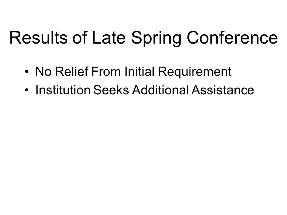 Results of Late Spring Conference No Relief From Initial Requirement Institution Seeks Additional Assistance